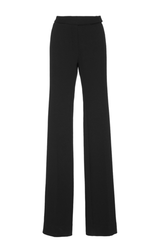 Medium protagonist black double face crepe flare trousers