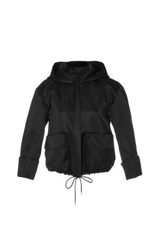 Medium protagonist navy double face satin hooded jacket