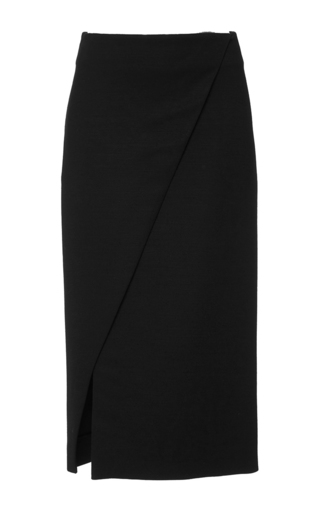 Medium protagonist black crepe pencil skirt