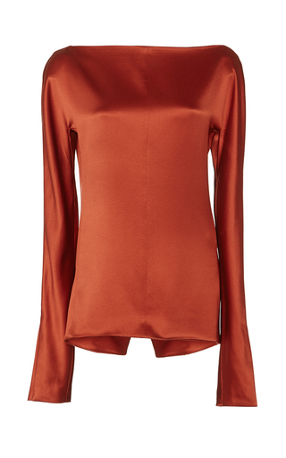 Medium protagonist orange heavy charmeuse blouse