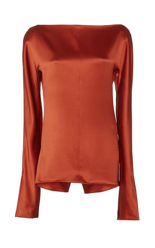 Medium protagonist orange heavy charmeuse blouse