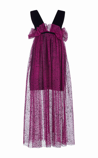 Medium isa arfen purple spray flock tulle risque dress