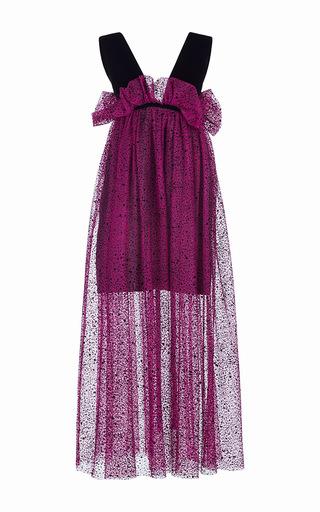 Medium isa arfen purple spray flock tulle risque dress