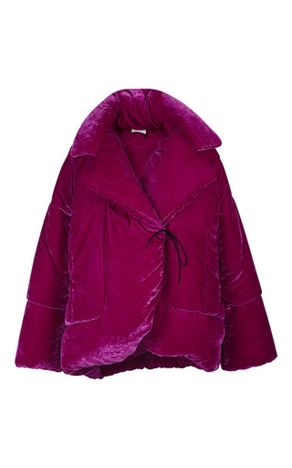 Medium isa arfen pink fluid velvet medium puffa jacket