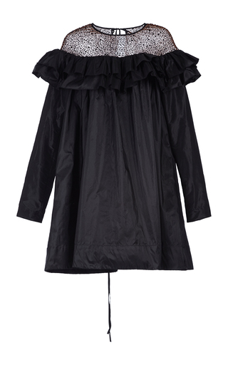 Medium isa arfen black ruffled taffeta combo dress