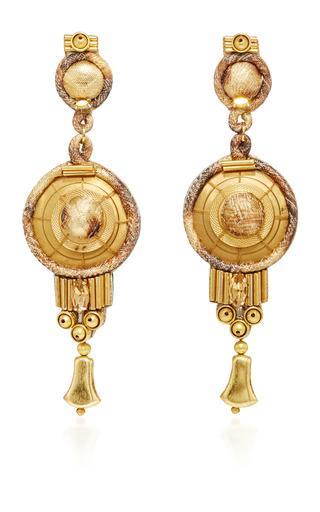 Medium naeem khan multi silk lame print and swarovski crystal chandelier earrings
