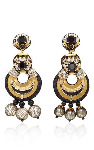 Medium naeem khan multi onyx and metal mesh covered pearl chandelier earrings  2