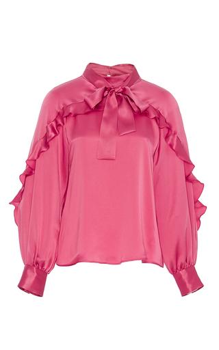 Medium leur logette pink silk satin blouse with bow