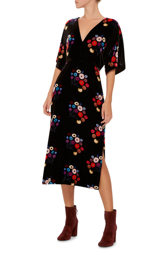 Floral Velvet Rena Dress by TANYA TAYLOR Now Available on Moda Operandi