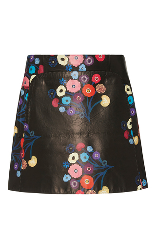 Medium tanya taylor floral printed leather aneta skirt