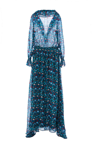 Leaf Chiffon Sage Dress by TANYA TAYLOR Now Available on Moda Operandi