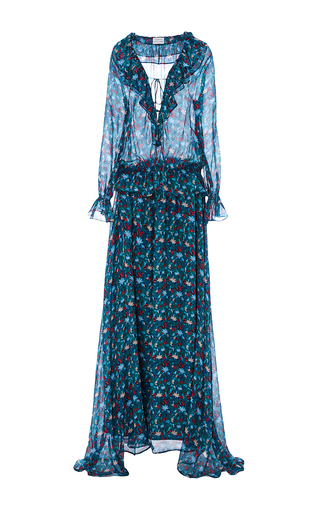 Medium tanya taylor floral leaf chiffon sage dress