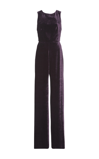 Medium saloni purple jules velvet jumpsuit