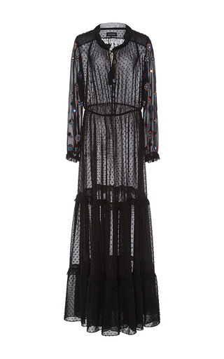 Medium saloni black alexia dobby georgette dress