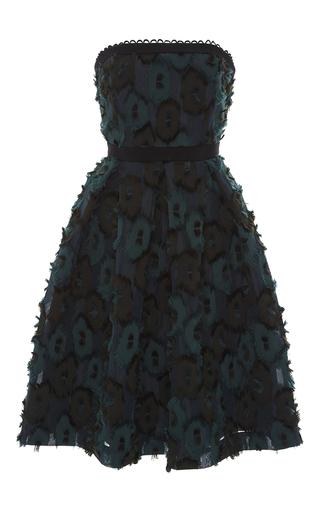 Medium saloni green anina clipped jacquard dress