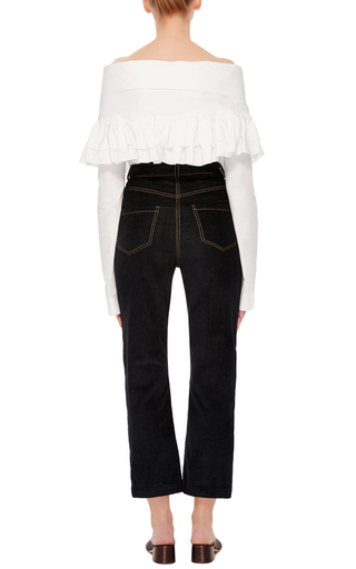Washed Cotton Ruffle Knot Top by ISA ARFEN Now Available on Moda Operandi