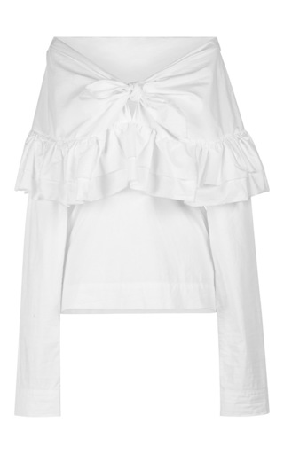 Medium isa arfen white washed cotton ruffle knot top