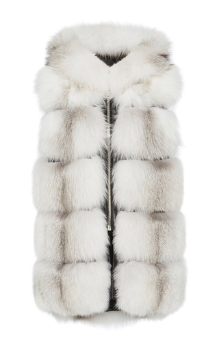 Medium nicole benisti white silver fox fur vest