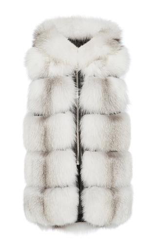 Medium nicole benisti white silver fox fur vest