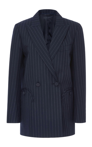 Medium blaze navy double breasted pinstripe blazer