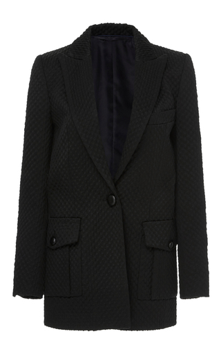 Medium blaze black quilted peak lapel blazer