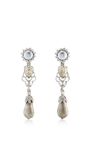 Medium oscar de la renta silver crystal and pearl drop earring