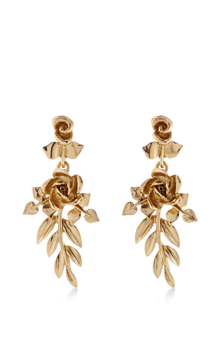 Medium oscar de la renta gold light gold rose and leaf vine earring