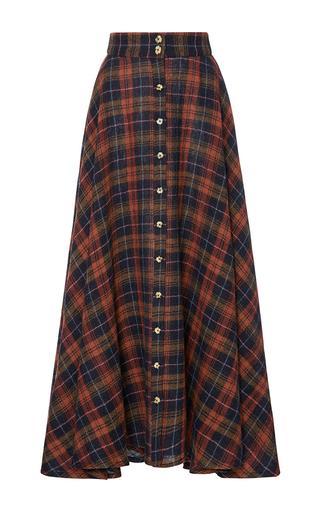 Medium christine alcalay plaid plaid gauze button skirt