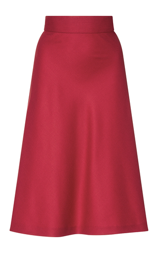 Medium christine alcalay red wool flannel a line bias skirt