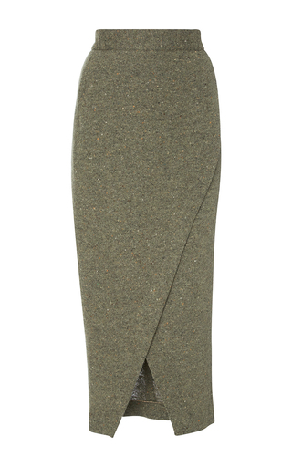 Medium christine alcalay green melange knit wrap skirt