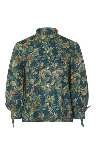 Medium christine alcalay print fern cotton tie sleeve blouse