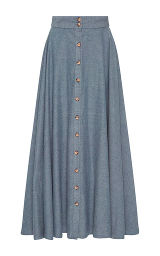 Medium christine alcalay light blue blue heathered cotton button skirt