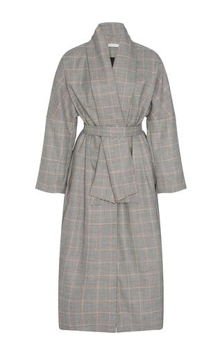 Medium christine alcalay plaid windowpane wrap coat