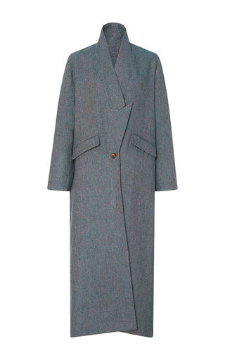 Blue Wool Tweed Drop Lapel Coat by CHRISTINE ALCALAY Now Available on Moda Operandi