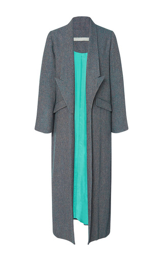 Medium christine alcalay blue blue wool tweed drop lapel coat