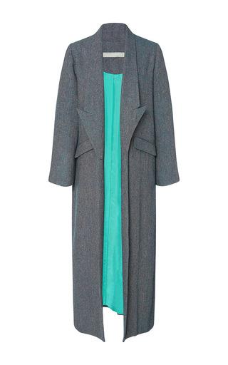 Medium christine alcalay blue blue wool tweed drop lapel coat