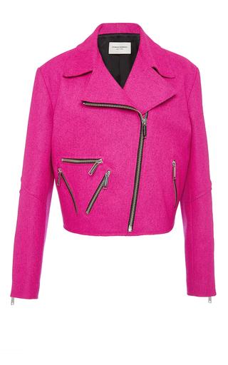 Medium public school pink rodney esme wool biker jacket