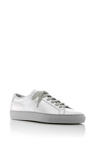 Medium common projects  2 silver achilles lace up sneakers 2