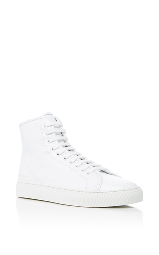 Medium common projects  2 white tournament high sneakers