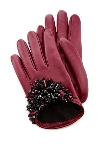 Medium oscar de la renta burgundy bordeaux paillette embroidered gloves