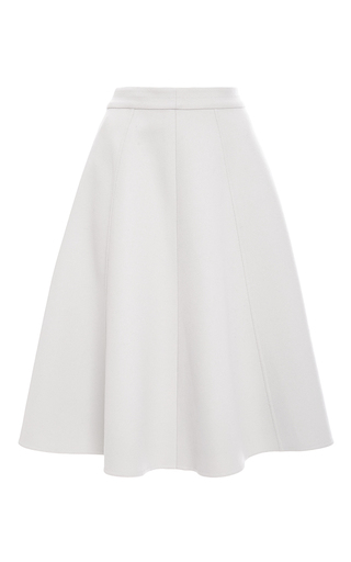 Medium oscar de la renta white double face wool a line skirt