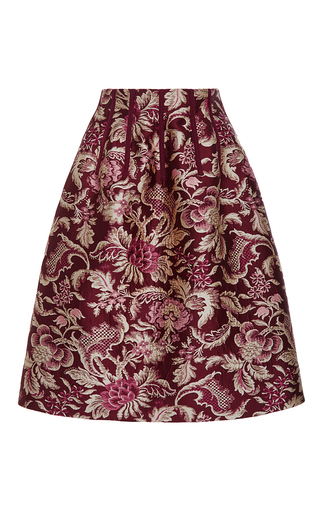 Medium oscar de la renta burgundy midlength brocade skirt