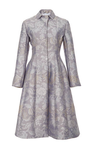 Medium oscar de la renta purple seamed brocade coat