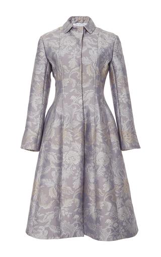 Medium oscar de la renta purple seamed brocade coat
