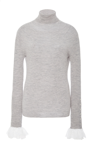 Medium oscar de la renta light grey ruffle sleeve turtleneck top
