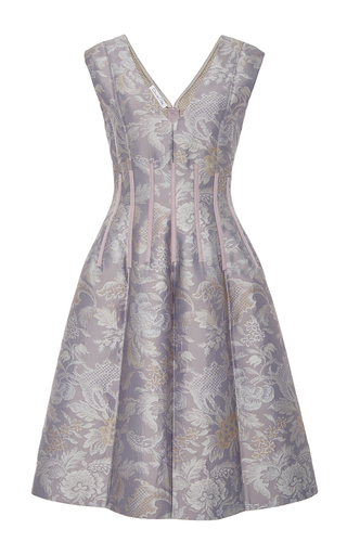 Medium oscar de la renta purple seamed v neck dress