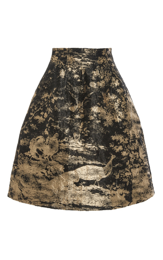 Medium oscar de la renta black metallic a line skirt