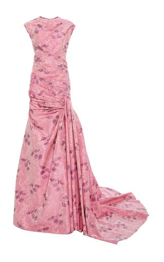 Medium oscar de la renta pink high neck floral draped gown