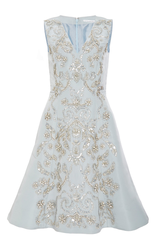 Medium oscar de la renta blue crystal embroidered cocktail dress
