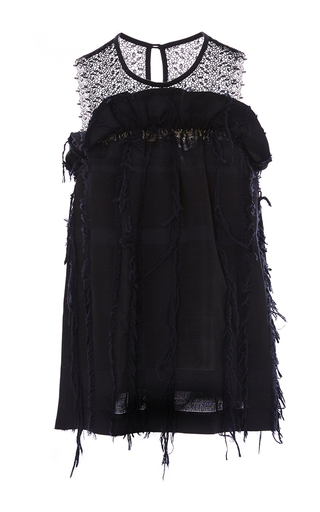 Medium marissa webb black mercer fringe jacquard shell